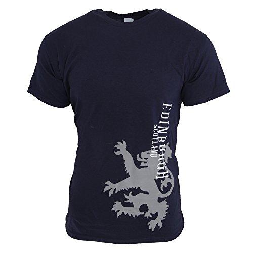 Unisex T-Shirt mit Schottland-Löwen-Log und Aufschrift Edinburgh, kurzärmlig (M) (Marineblau)