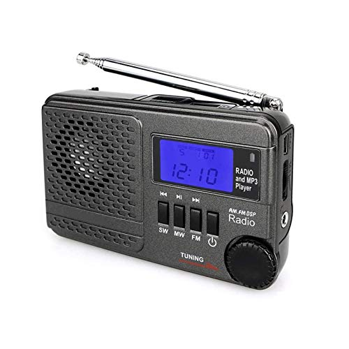 Bdesign Portable Radio Receiver with Loud Speak and Earphone, Excellent Reception 12/24H Time Display Digital Radio, Backlight, Sleep, Ascending Alarm, Battery Operated
