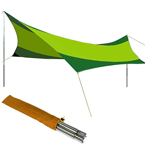 YXDEW Hammock Rain Fly Tent Tarp 18x18.4 Feet Waterproof Tarp Shelter Hammock Rain Fly Tent Portable With Stakes Poles Ropes Survival Gear Kit For Camping Backpacking Fishing Beach camping