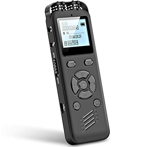 Aomago 32GB Digitales Diktiergerät für Besprechungen-A36 Audiorecorder Mit Wiedergabe Unterstützung Externes Mikrofon und Line-Aufnahme 1536Kbps Diktiergerät Aufnehmen