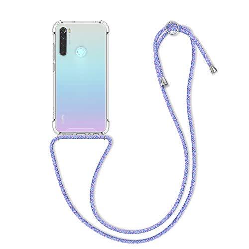 kwmobile Carcasa con Cuerda Compatible con Xiaomi Redmi Note 8 (2019/2021) - Funda Transparente de TPU con Cuerda para Colgar en el Cuello