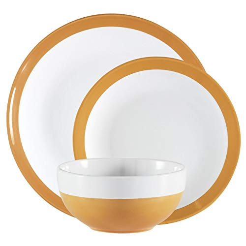 Mainstays Angela Collection Dinnerware Set, 12 Count (12 Count, Yellow)