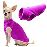 Dog Fleece Vest Soft Winter Jacket Sweater with D-Ring Leash Cold Weather Coat Hoodie for Small Medium Large Dogs Purple M