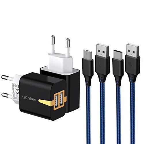 SCHITEC Cargador USB 2 Pack,2 Puertos 5V / 2.1A Cargador de Pared USB con 2 Pack 2m Cable USB Adaptador de Corriente para Enchufe USB de Viaje para iPhone XS/XR,iPad,Samsung Galaxy S8 S9,Huawe
