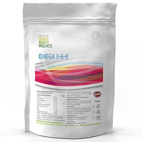Omega 369 (500 Softgel Kapseln á 1000mg) Omega 3 6 9 | Fischöl | Leinöl | Sonnenblumenöl | Gesunde Fettsäuren | Preishammer