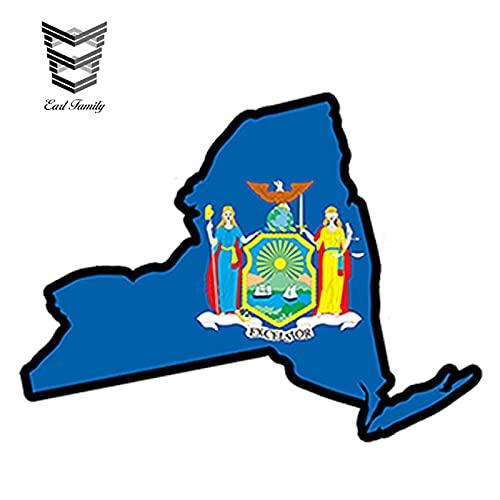PJYGNK Sticker de Carro 13 cm x 9,2 cm Estilo de Coche Mapa de la Bandera del Estado de Nueva York JDM Pegatina de Vinilo Impresa Pegatina de Coche NY USA Accesorios Impermeables