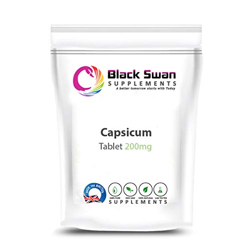 Black Swan Capsicum 200mg Veg Tablets – for Healthy Immune System and Joint Health - Herbal Supplement (120 tabs)