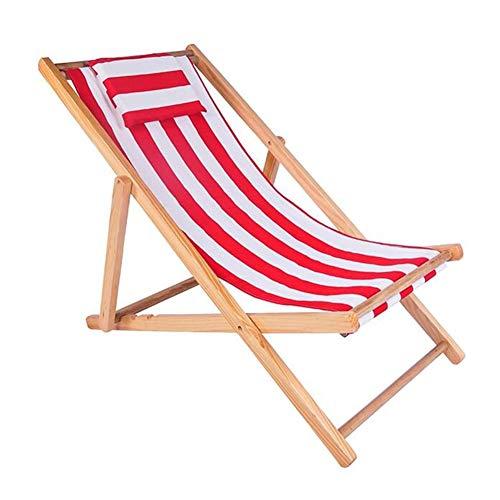 QIDI Chaise Pliante Chaise de Plage Chaise Longue en Bois Massif Simple Moderne Pliable Facile à Transporter en extérieur - Réglage du quatrième Rapport (Couleur : Red and White)