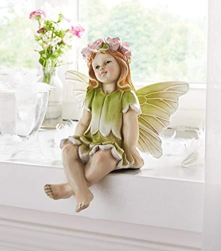 Deko-Figur Fee mit Blumenkranz, 21 cm hoch, Kantenhocker, Kantensitzer, Elfe, für Drinnen & Draussen, Gartendeko, Balkondeko
