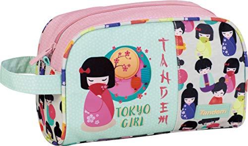 Neceser de Viaje Tandem Tokio Girl   Organizador de Equipaje de Mano Adaptable a Carro de Mochila, Neceser Viaje con Bolsillo de Gran Capacidad y Asa para Transporte - Medidas 25 x 15,5 x 11