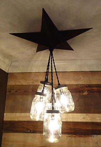 Mason Jar Chandelier Barn Star - Country Rustic Primitive Pendant Light - 5 Jars (Black)