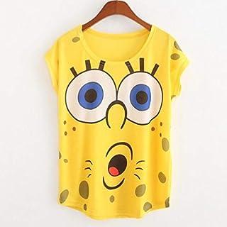 Spongebob Print Thin Style T-Shirt For Women - Yellow