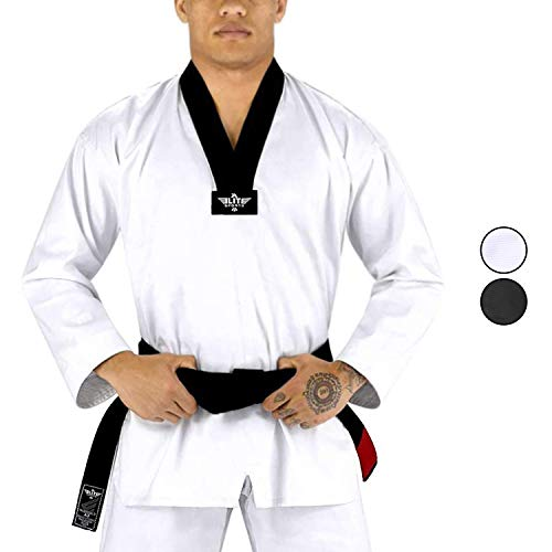 Elite Sports Taekwondo Dobok Uniform for Men, Mens TKD Student Tae Kwon Do Uniform GI for Adult (White,2)