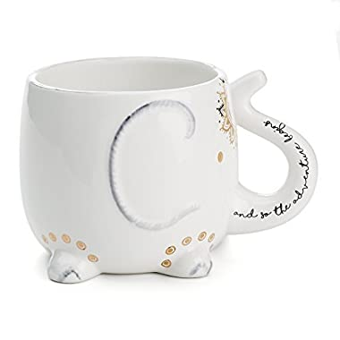 White Ceramic Coffee or Tea Mugs: Tri-Coastal Design Soho Boho Elephant Coffee Mug with Gold Foil Details, Fun Trunk Handle and Printed Saying - 18.6 Fluid Ounce Large, Cute Handmade Cup