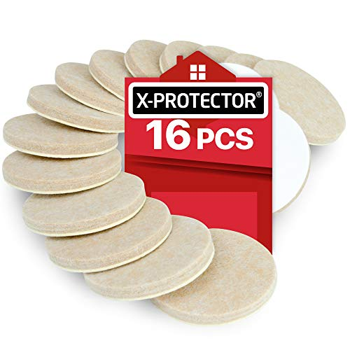 X-PROTECTOR Filzgleiter selbstklebend für Möbelfüße – Filzgleiter Groß 16 Stück 50 mm - Möbelgleiter - Premium Filz selbstklebend 5 mm Dicke - Filzmöbelgleiter. Schützen Sie Ihre Holzfußböden!