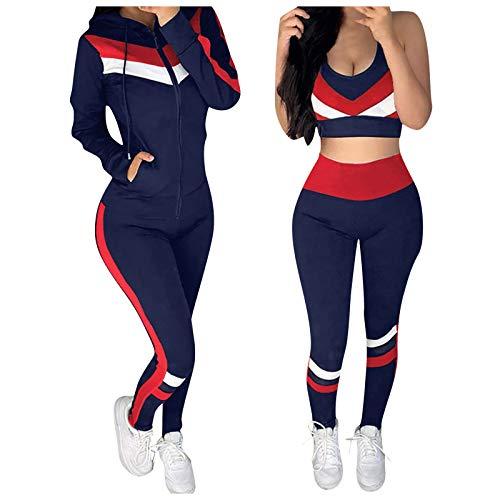 WFRAU Leisure Traingsanzug für Damen Yoga Jogginganzug 3-teilig Outfit Set Ärmellos Sport BH + Patchwork Langarm Kapuzenjacke mit Reißverschluss + Lange Slim Fit Yogahose Jogginghose Sportanzug