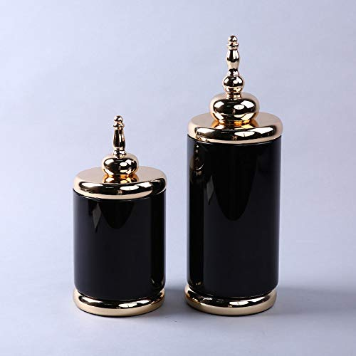 MJDLDV Dekoration,Schwarzglas Vase Ornamente vergoldet einfache Atmosphäre europäischen Stil Home Storage Tank Crafts Set