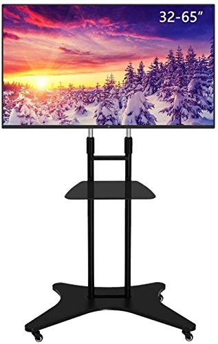 XYSQWZ Soporte De TV Soporte De Pedestal Soporte De TV Universal Soporte De Montaje De TV De Altura Ajustable con Bandeja Carro De TV Negro 32-55-65 Pulgadas