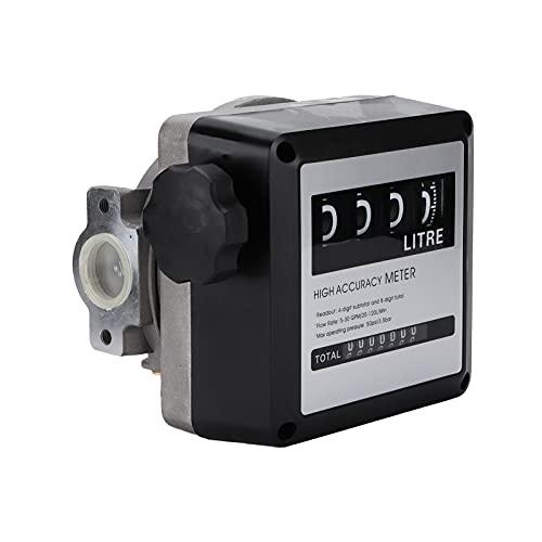 Medidor de flujo de combustible Aramox para gasolina, 4 dígitos Medidor de flujo de combustible de alta precisión Pantalla grande 5‑30GPM 20‑120L / Min