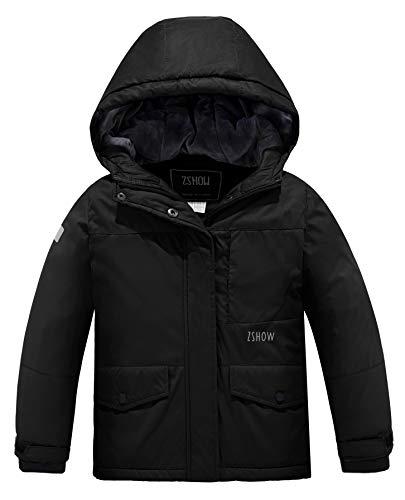 ZSHOW Girl's Waterproof Ski Jacket Warm Fleece lined Winter Coat(Black, 8)