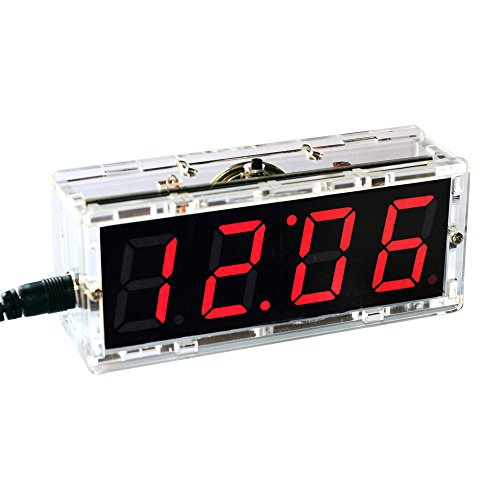 Gearwoo 4-Digital DIY Clock Kits, LED Talking Clock with Speaker, PCB for Soldering Practice Learning Electronics +Transparent/Injection molding Case+ English Instructions