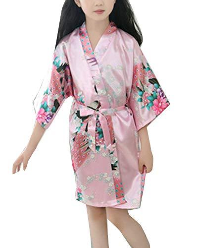 Niños Niña Bata Kimono Traje Ropa de Noche con Pavo Real y Flores Pijama Albornoces SPA Natación Cumpleaños