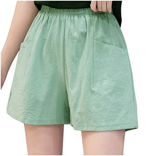 YANFANG Pantalones Cortos de Lino de Pierna Ancha Holgados Casuales Sueltos de Lino de Cintura Alta para Mujer,Calzones Calzoncillos Leggings Mallas