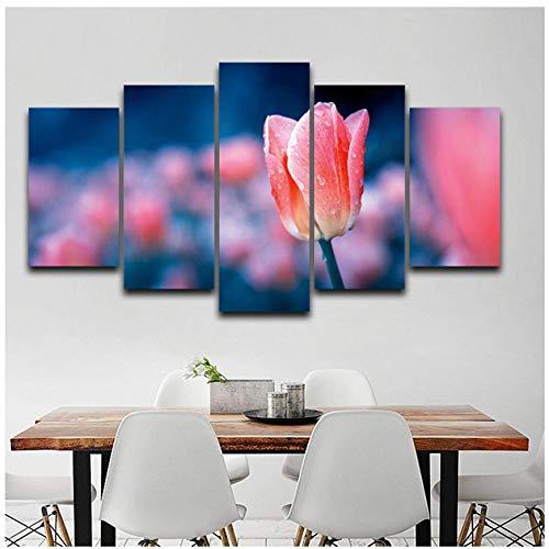 XXSCZ 5 Canvas foto's HD gedrukte poster modulaire muurkunst fotolijstjes 5 panelen tulpenbloem met douche schilderij voor woonkamer huis decoratie 30 x 40 30 x 60 30 x 80 cm met frame.