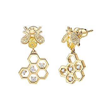 Emibele Dangle Earrings 925 Sterling Silver Needle Cubic Zirconia Brass Small Bee & Honeycomb Drop Earrings for Women Ladies Adult Fashion Jewelry Accessories - Champagne Gold