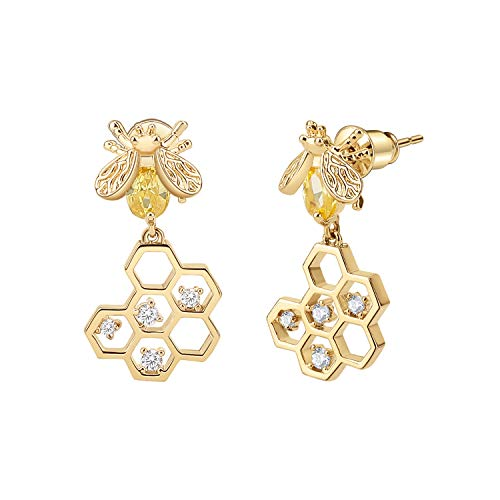 Emibele Dangle Earrings, 925 Sterling Silver Needle Cubic Zirconia Brass Small Bee & Honeycomb Drop Earrings for Women Ladies Adult Fashion Jewelry Accessories - Champagne Gold