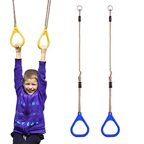 2 Stks Verstelbare Gym Ringen Voor Kinderen Kinderen Klimrekken En Schommels, Swing Bar Ringen Kleurrijke Achtertuin Outdoor Gymnastiekring Ninja Boom Opknoping Obstakel Lijn Accessoires Speelset,Blue