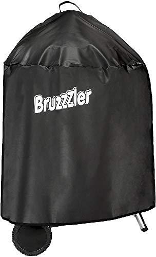 Bruzzzler Grillabdeckung für Kesselgrill bis ca. Ø 58 cm, Grillabdeckung, wasserdichte Grillabdeckung, verstärkte Kante, UV-, wetter- und pollenbeständige, elegante schwarze Grillabdeckung