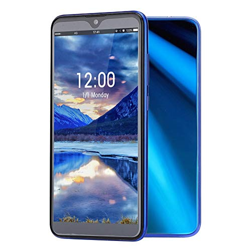 MIQOO S20 Smartphone de 6.1 pulgadas, desbloqueo facial, tarjetas SIM dobles, teléfono móvil con memoria de 3+32G, batería de 4000 Mah, cámara dual de 800W/1300W, soporte de expandida de 128 G(Azul)