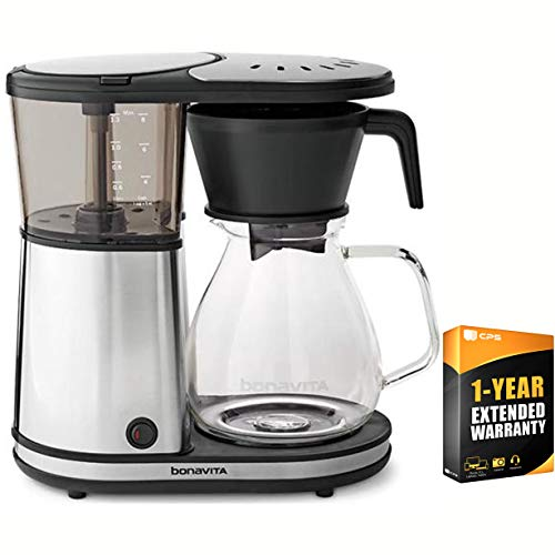 Bonavita Glass 8-Cup Coffee Brewer w/Hot Plate Glass Carafe (BV1901GW) with 1 Year Extended Warranty