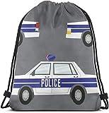 Coche de policía sobre Fondo Gris Mochila con cordón de impresión 3D Mochila Mochilas Bolsas de Gimnasia para Adultos 16.9'X14