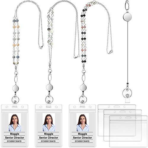 3 Pieces Retractable Badge Reel Lanyard with ID Holder Set, Fashion Beaded Lanyard Stainless Steel Chain Necklace with 6 Pieces Clear Waterproof Badge Holder for Girl Women