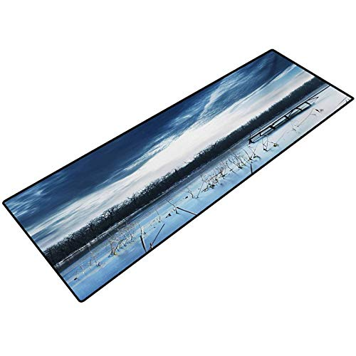 Winter Kitchen Rugs Landscape Scenery of Mountain Lake with a Frozen Bay Sunset Entry Way Doormat Front Door Rug Outdoor 20x32 Inch Slate Blue White and Purple Grey