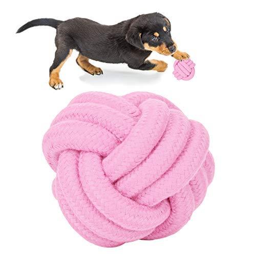 Pssopp Hundespielzeug Seil Kauspielzeug Hund Spielzeug Baumwollknoten Spielset Seil Spielzeug für kleine und mittlere Hunde(Rosa)