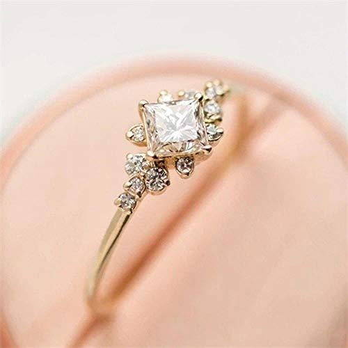 SUNMM Kristal Zirkoon Goud Ring Set Vintage Glamour Vrouwen Charmante Party Ring Set Sieraden, 8,R407