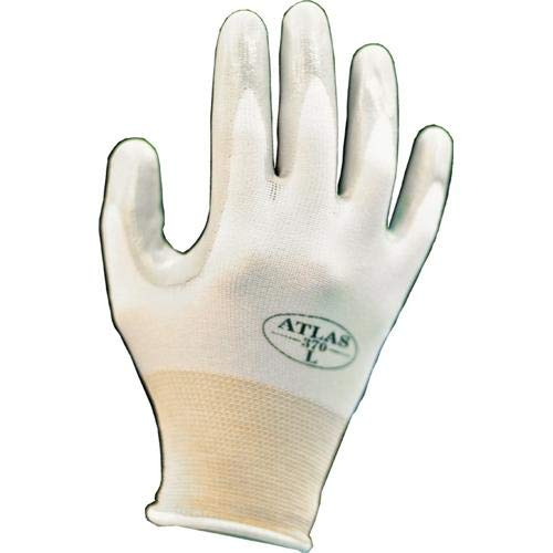 SHOWA Atlas 370W Nitrile Palm Coating Glove, White, Small (Pack of 12 Pairs)