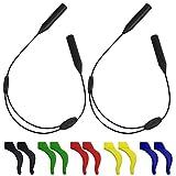 SENHAI Retenedor de gafas ajustable de 2 piezas Y 5 pares de ganchos antideslizantes, Agarrador de gancho para la oreja para gafas deportivas...