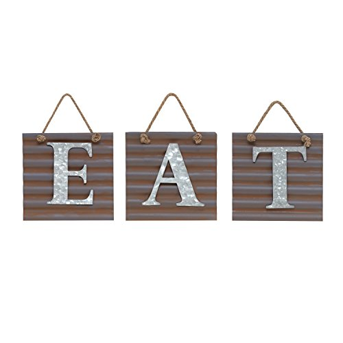 "Barnyard Designs Eat Galvanized Metal Letter Tile Wall Sign, Primitive Country Rustic Kitchen Farmhouse Home Decor Sign 28"" x 10"" (Each Tile 8"" x 8"")"
