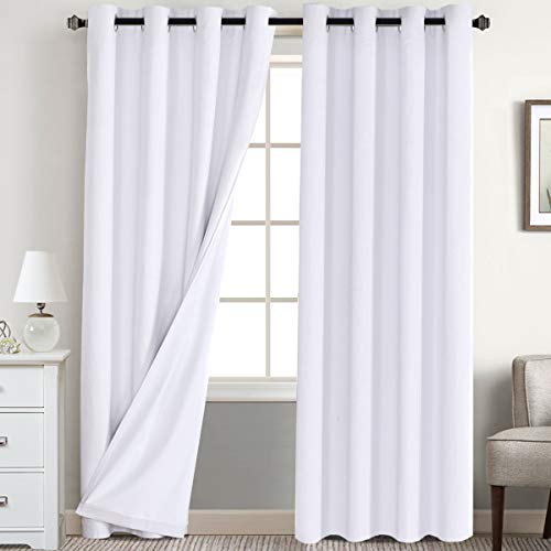 Flamingo P Textured Linen 100% Blackout Curtains 96 Inch Length 2 Panles Set Burlap Thermal Insulated Full Light Blocking Primitive Curtain Drapes Draperies for Bedroom, Pure White with White Liner