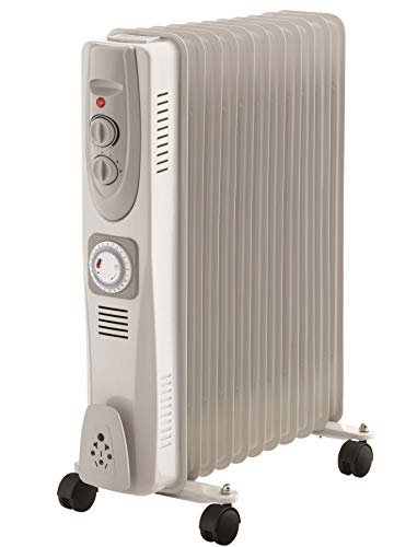 Daewoo 2500W Portable Oil Filled Radiator with 11 Fins, Tip Over Switch, Timer and Thermostat Control
