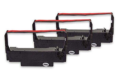 vhbw 3x Cinta de tinta mecanográfica de nailon para impresora matricial/agujas Bixolon SRP 270, SRP 275 reemplaza ERC-38 B/R, ERC-30, ERC-34