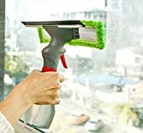 RYLAN 3 in 1 Plastic Easy Glass Spray Type Cleaning Brush Wiper Clean Shave Car Window Cleaner for Car Window, Mirror, Glass, Floor, Stove with Spray, Cleaning Cloth (Green)