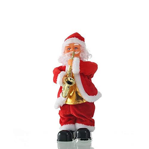 kuaetily Weihnachtsmann singender und Tanzender Santa Claus 35cm Weihnachten Deko Figur (Saxophon)