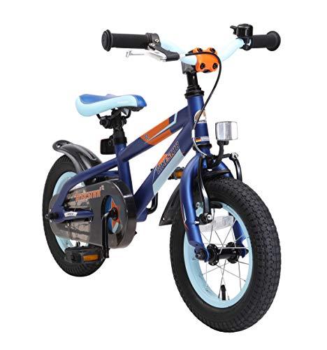 BIKESTAR Kinderfahrrad 12 Zoll für Mädchen und Jungen ab 3-4 Jahre | 12er Kinderrad Mountainbike | Fahrrad für Kinder Blau & Orange | Risikofrei Testen