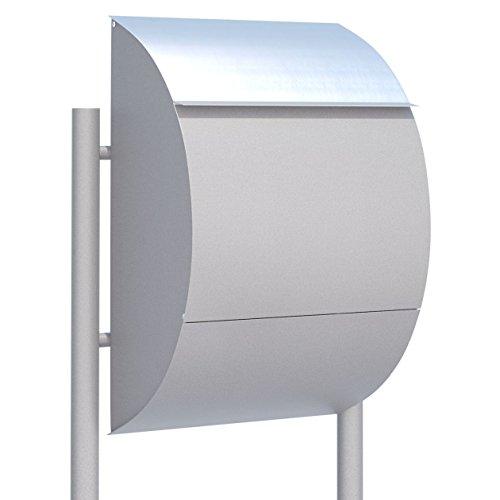 Standbriefkasten, Design Briefkasten Jumbo Grau Metallic/Edelstahl - Bravios