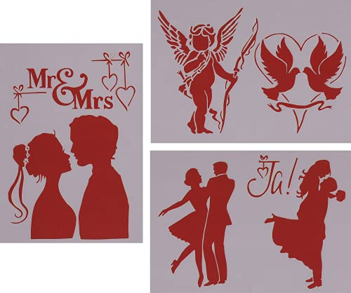 Schablonen 3er Set Hochzeit zum Malen und Zeichnen A4, 21 x 29 cm, Stencil, Brautpaar